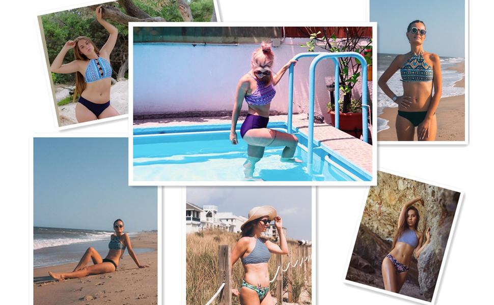 5ddea9176aa maysoul Women Bikini Set Crop High Neck Swimsuits Aztec Two Piece Bathing  Suits