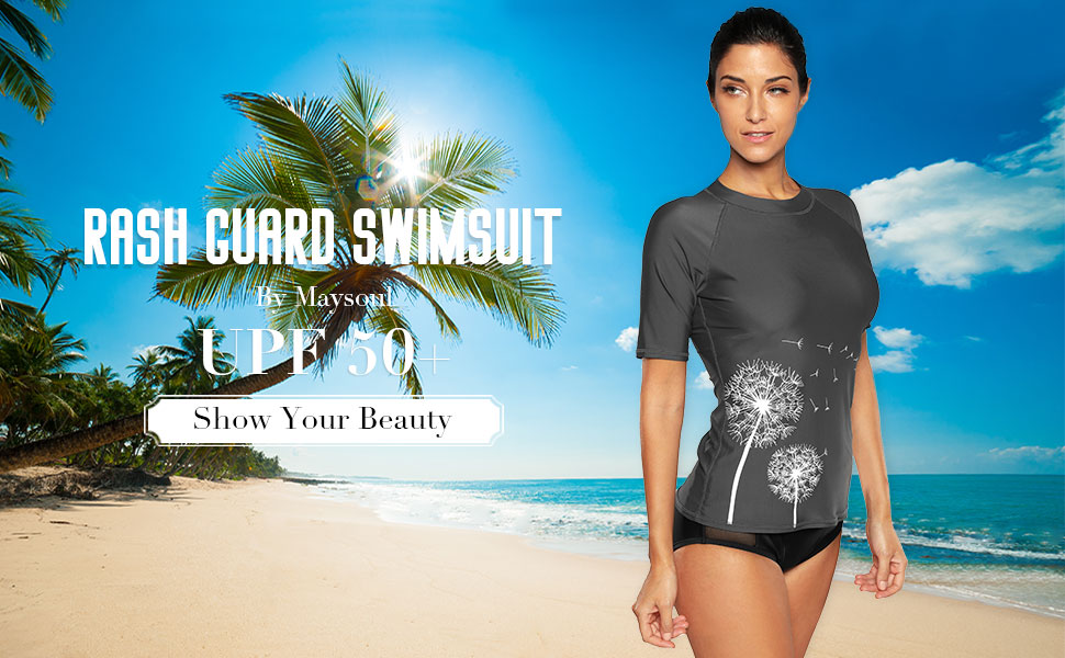 ab615a47578 Amazon.com: maysoul Women Short Sleeve Rash Guard Floral Swim Shirts ...