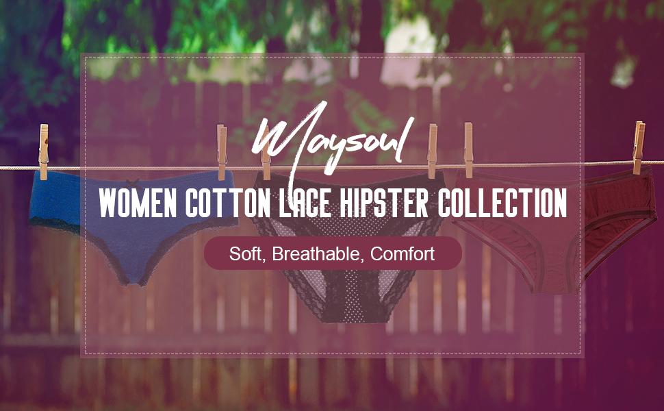 8ab3a419fcb07 maysoul Womens Soft Panties Lace Briefs Lingerie Underwear Cotton Hipster
