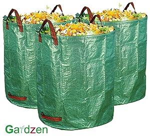 gardzen 3-Pack 72 Gallons Garden Bag - Reuseable Heavy Duty Gardening Bags, Lawn Pool Garden Leaf Waste Bag
