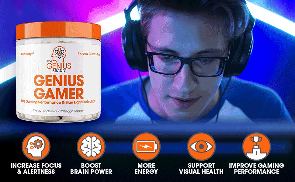 Genius Gamer - Elite Gaming Nootropic | Focus & Brain Booster Supplement -  Boost Mental
