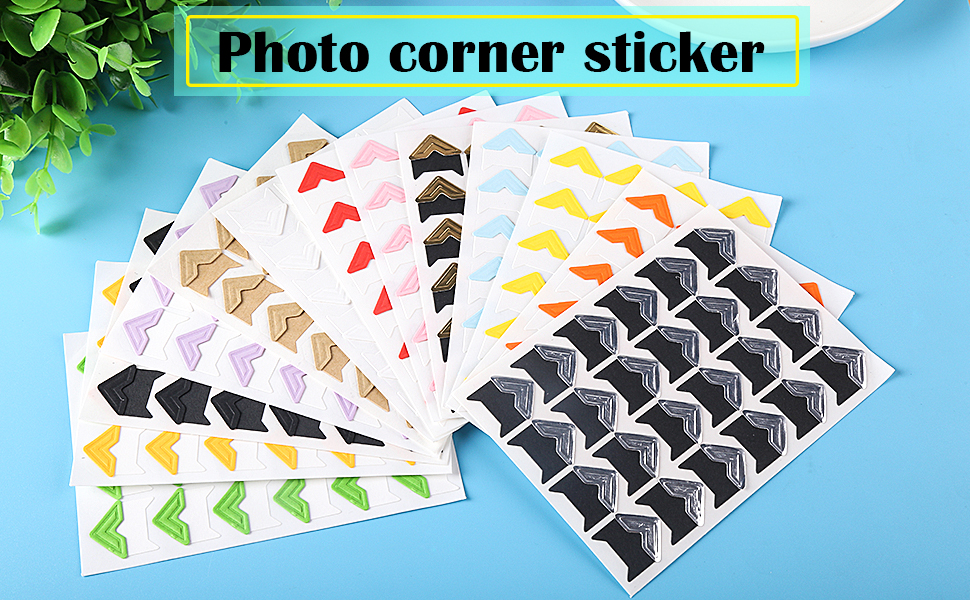 18 Sheets Retro Style Photo Mounting Corners Photo Corners Sticker 6 Colors