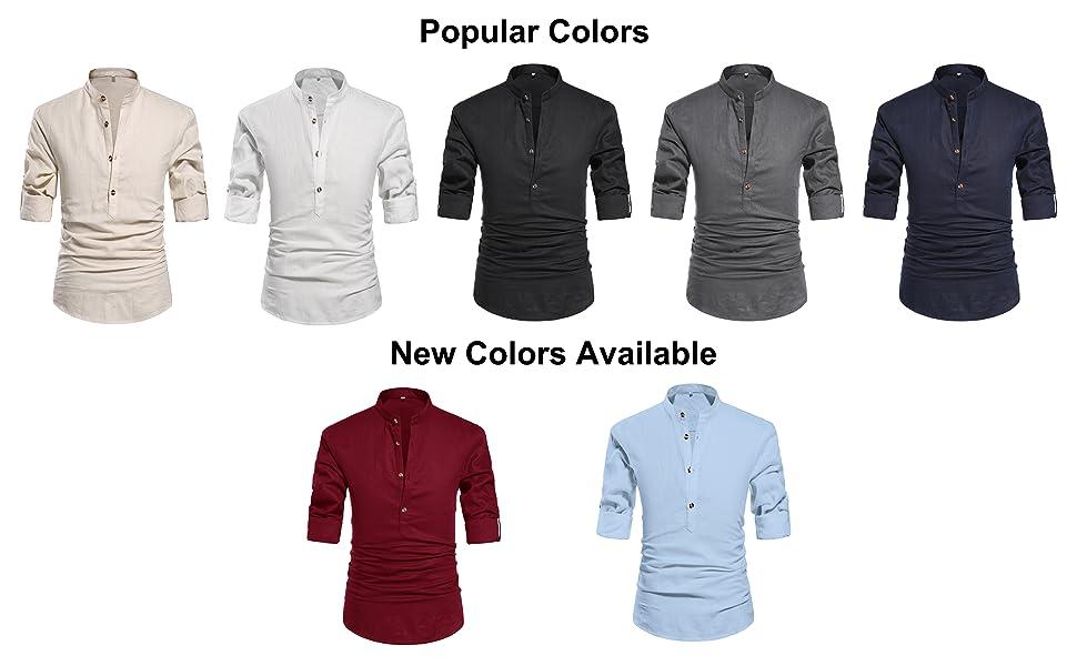 ZYFMAILY linen shirts for men, casual beach shirt, band collar henley