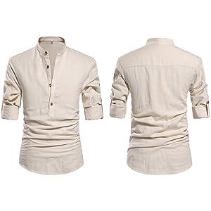 mens henley long sleeve roll-up sleeve button front solid linen shirt beach shirt