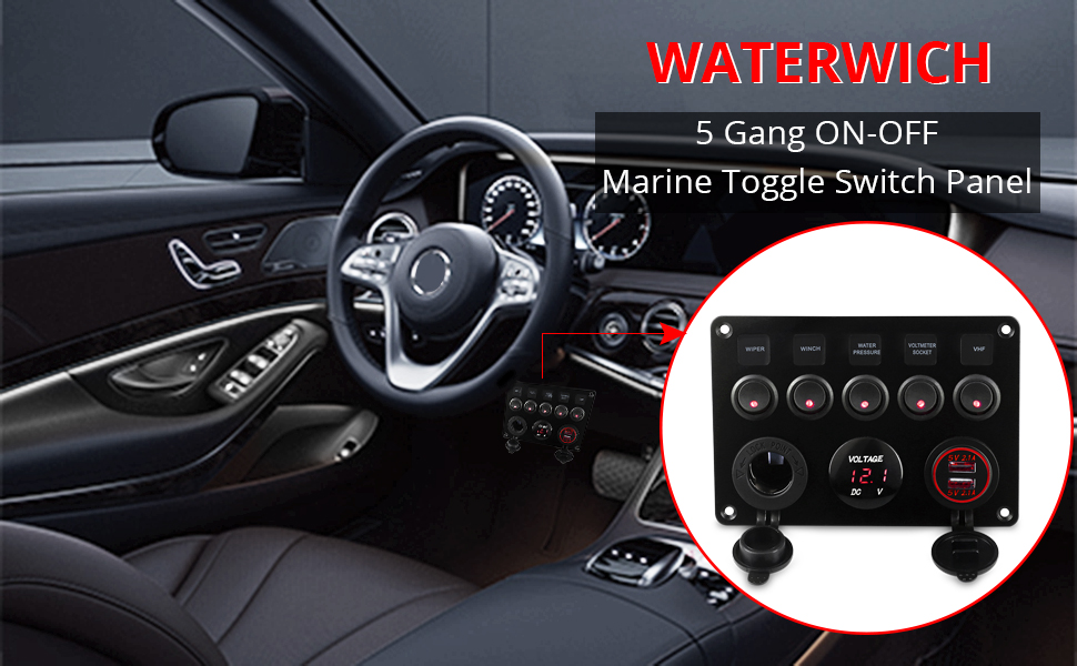 5 Gang ON-OFF Marine Toggle Switch Panel
