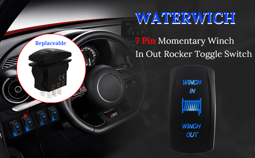 Amazon.com: WATERWICH 7 pin Momentary Winch In Out Rocker Toggle ...