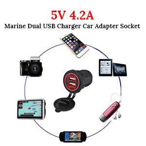 5V 4.2A(2.1Aamp;2.1A) Marine Dual USB Charger Car Adapter Socket