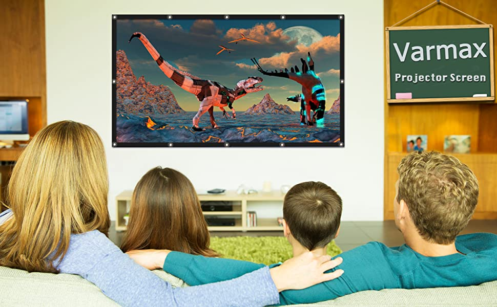 Varmax Video Projector Screen 84 inch Lightweight Wrinkle-Free Polyester Material for Home Movie Night and Powerpoint Presentation 16:9