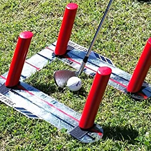 All set with the 62 degree poles for an 8-iron. Red poles can be used from 4-iron up to wedge