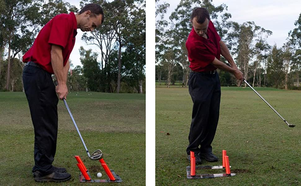 Chipping and pitching with Slot It Golf Swing Trainer