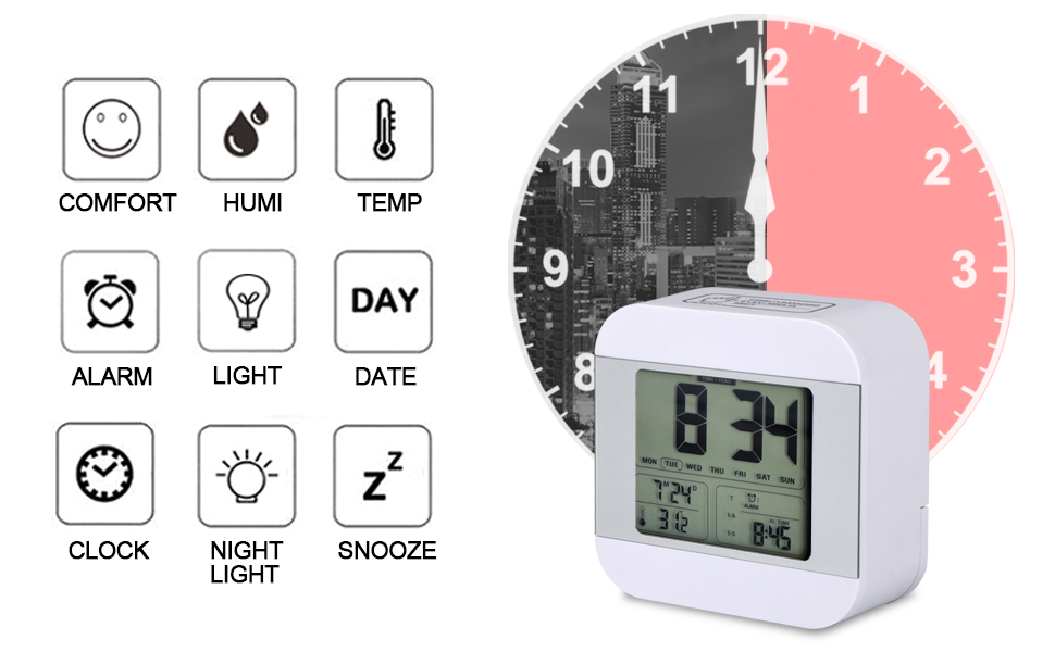 Battery Operated LED Clock with and Accering Small Digital Alarm Clock for Kids