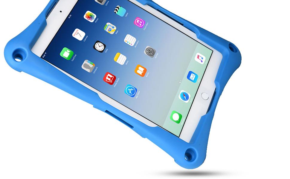 Cooper Trooper 2K Rugged Case for 9-9.7 Inch Tablet | Tough Bumper Protective Drop Shock Proof Kids Holder Carrying Cover Bag, Stand, Strap (Blue)