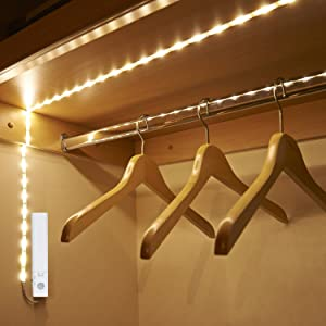 Led battery operated bed light motion sensor flexible led strip remove the 3m adhesive backing on the strip 3 stick the led light led strips on the closet with the 3m adhesive tapes aloadofball Choice Image