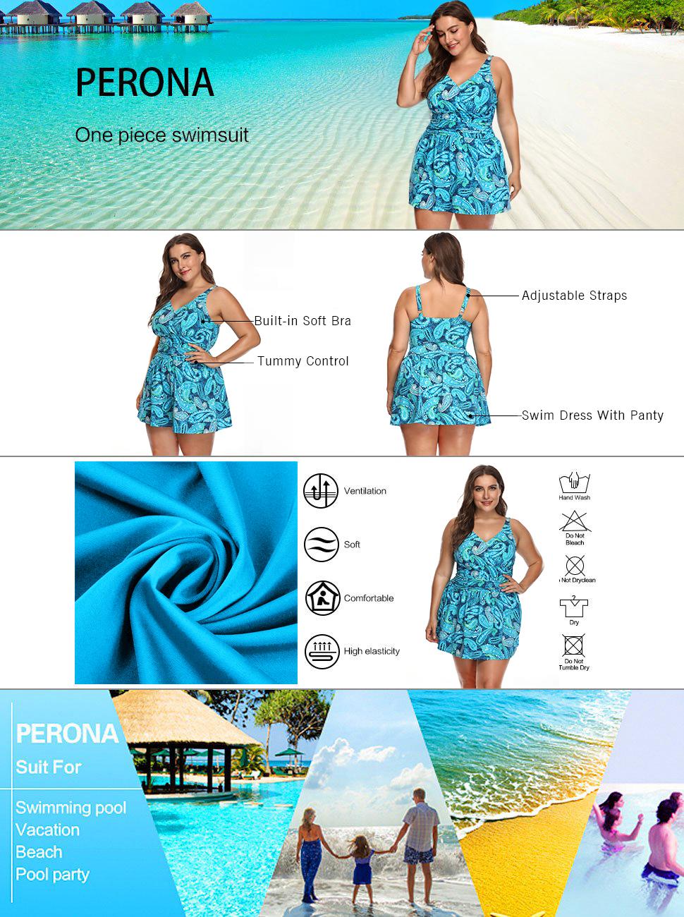 28e82196377 PERONA Plus Size Swimsuit for Women