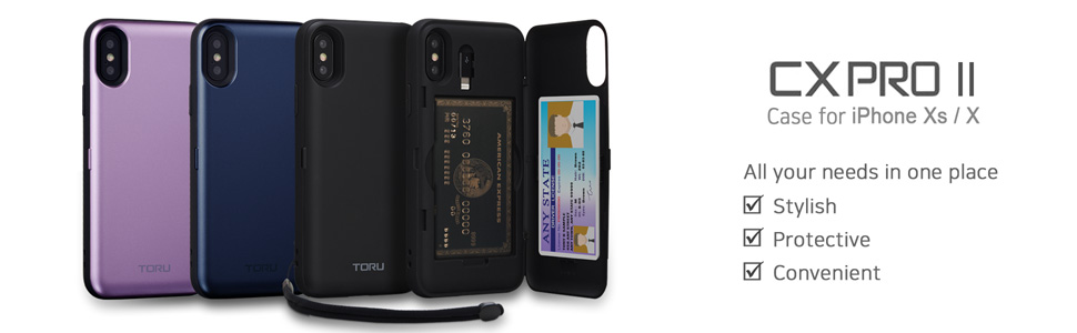 TORU CX PRO II iPhone Xs Wallet Case Black with Hidden Credit Card Holder ID Slot Hard Cover, Strap, Mirror & Lightning Adapter for Apple iPhone Xs ...