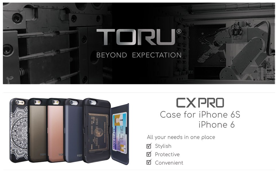 half off 28932 b8c35 TORU CX PRO iPhone 6 Wallet Case with Hidden ID Slot Credit Card Holder  Hard Cover & Mirror for iPhone 6S / iPhone 6 - Matte Black