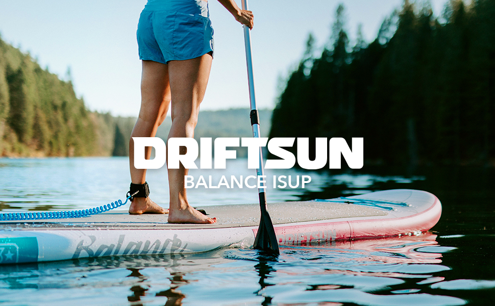 Driftsun 11 Foot Extra Wide Stable Inflatable Paddle Board, Yoga Balance Stand Up SUP Package with Travel Backpack, Adjustable Paddle, Coil Leash, 11 ...