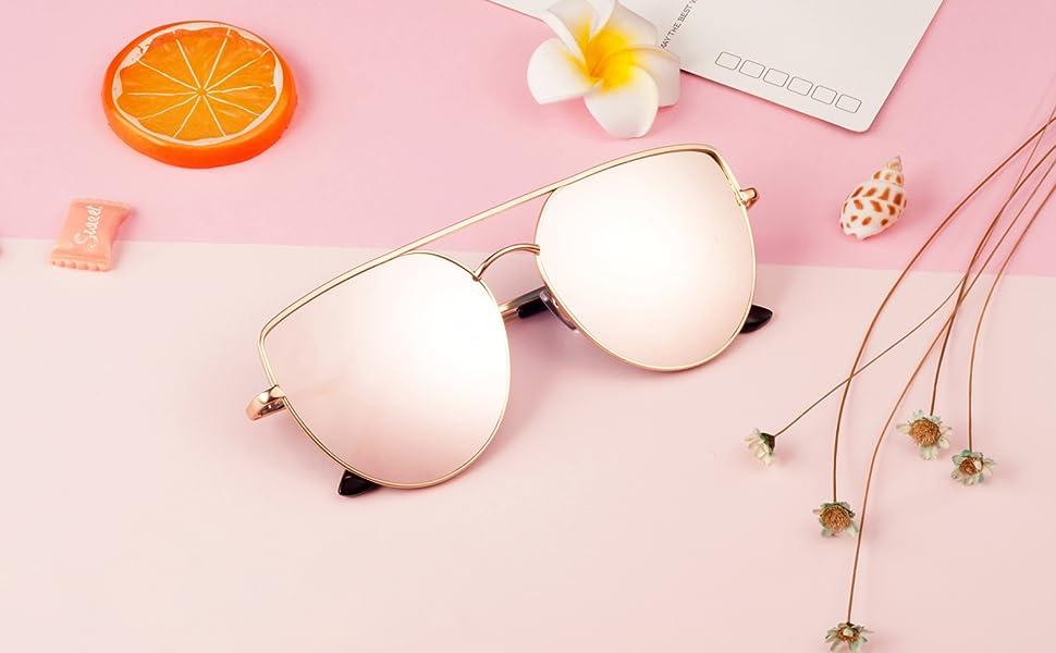a62a9f399 Amazon.com: Oversized Sunglasses for Women- Feirdio Mirrored Cat Eye ...