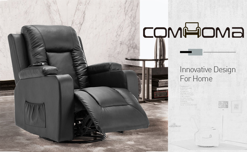 ComHoma Leather Recliner Chair Modern Rocker with Heated Massage Ergonomic Lounge 360 Degree Swivel Single Sofa Seat with Drink Holders Living Room ...