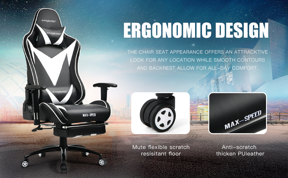 Amazon Com Gtracing Gaming Chair With Footrest Ergonomic