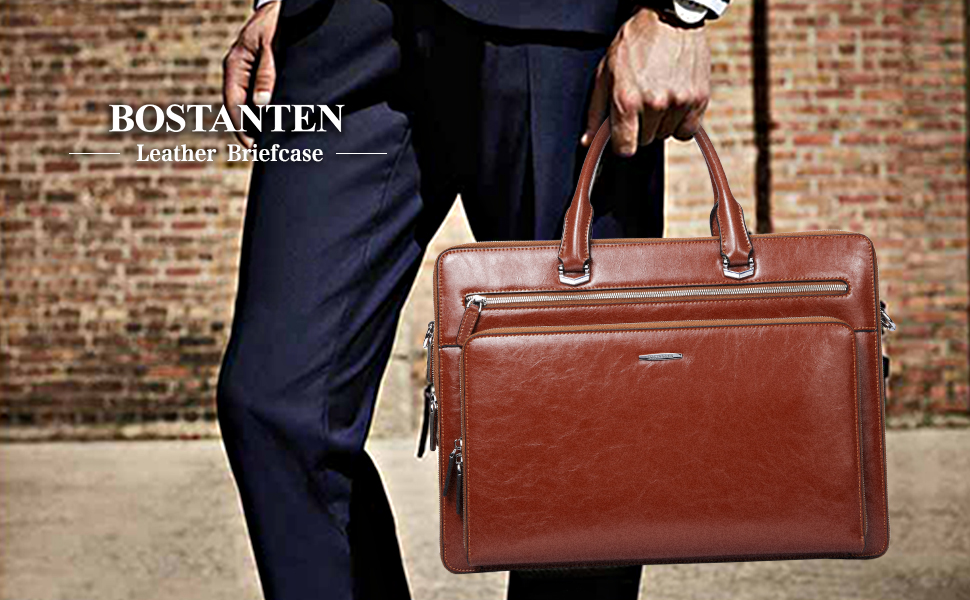 BOSTANTEN Leather Briefcase