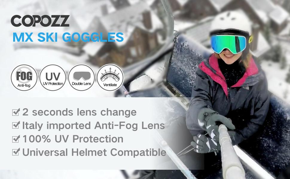 06313f91ba2 Amazon.com   COPOZZ Ski Goggles