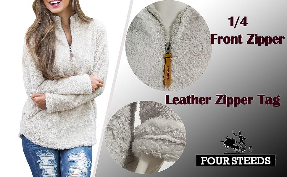 1/4 zipper Fuzzy Cozy Sherpa Fleece Sweatshirt Pullovers