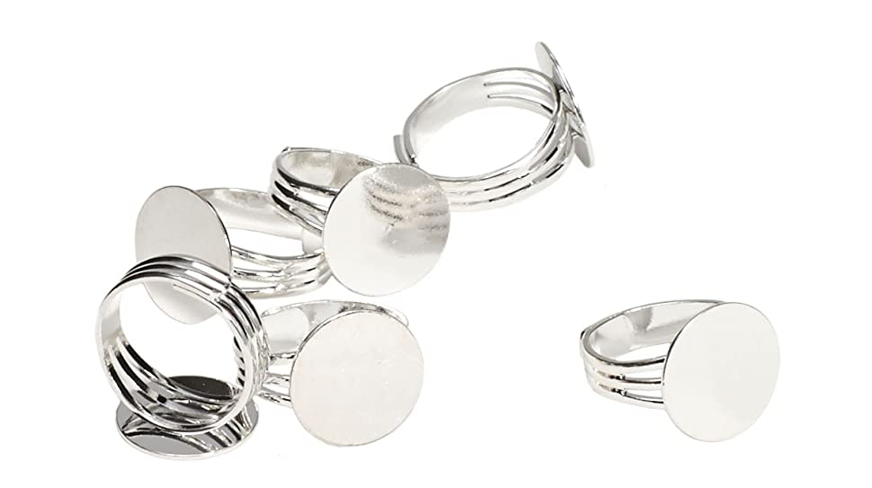 Amazon.com: Silver Plated Adjustable Ring Blanks with 16 mm Glue on ...