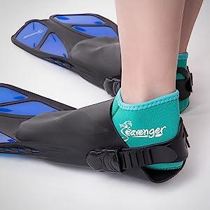 Seavenger trek fins, open foot pocket, barefoot-friendly