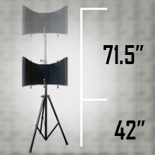 """Flashandfocus.com C5TAaq40RWGG._UX220_TTW__ AxcessAbles SF-101KIT Recording Studio Microphone 32.5""""Wx13""""H (422sq inch) Half Dome Isolation Shield with Tripod Stand 4ft to 6ft 6"""" Height Compatible w/Blue Yeti, AT2020, Condenser Mics"""