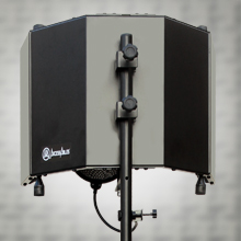"""Flashandfocus.com GVCMcKmRZih._UX220_TTW__ AxcessAbles SF-101KIT Recording Studio Microphone 32.5""""Wx13""""H (422sq inch) Half Dome Isolation Shield with Tripod Stand 4ft to 6ft 6"""" Height Compatible w/Blue Yeti, AT2020, Condenser Mics"""