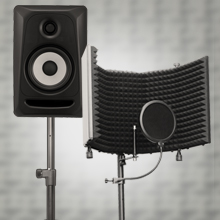 """Flashandfocus.com bmJwVkYETsKM._UX220_TTW__ AxcessAbles SF-101KIT Recording Studio Microphone 32.5""""Wx13""""H (422sq inch) Half Dome Isolation Shield with Tripod Stand 4ft to 6ft 6"""" Height Compatible w/Blue Yeti, AT2020, Condenser Mics"""