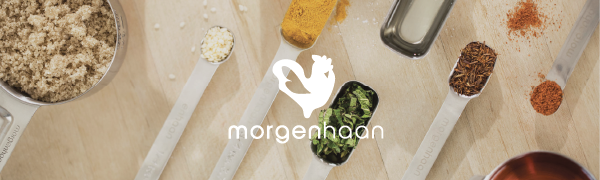 morgenhaan logo with measuring cups and spoons