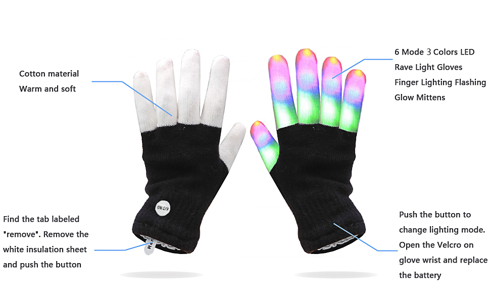 7eb93ec5 Luwint LED Colorful Flashing Finger Lighting Gloves with Extra Batteries