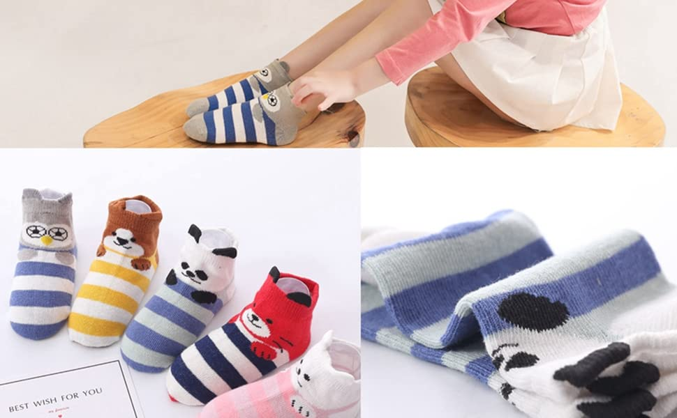 5 Packs Kids Toddler Big Little Girls Fashion Cotton Crew Seamless Socks 3D Funny Animals Dogs Cats Bears Socks