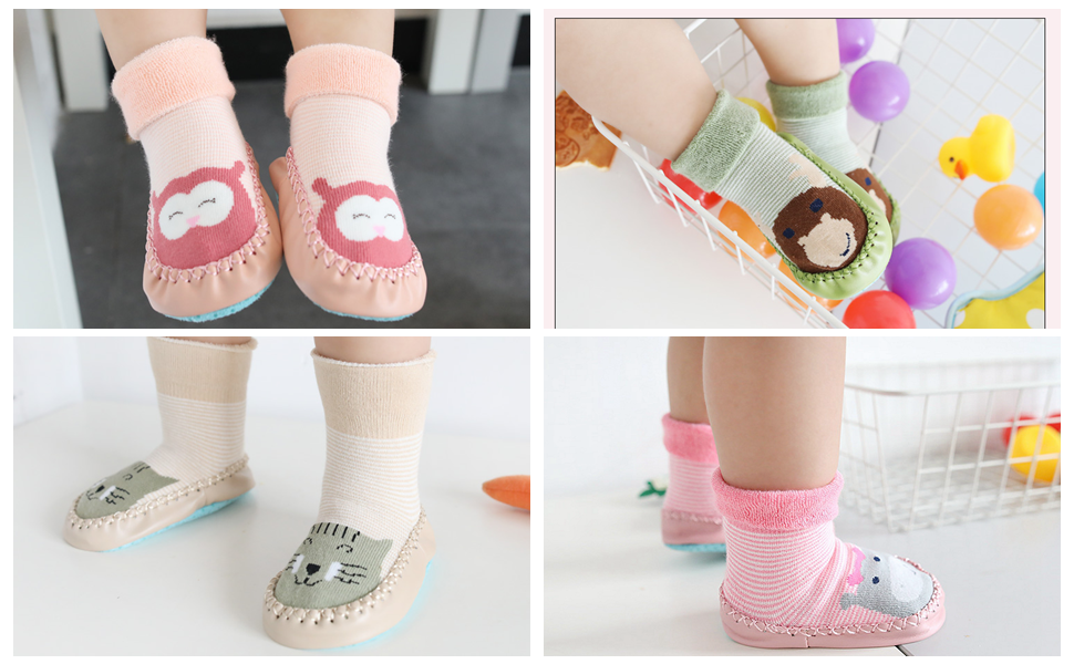 Infant Baby Toddler Boy Girl Anti-slip Socks Kid Slipper Shoes Boots Leg Warmers