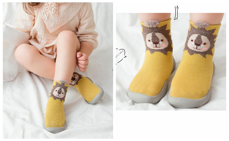 Minibella Baby Boys Girls Non-Skid Indoor Moccasins Toddler Kids Floor Slipper Animal Outdoor Breathable Cotton Shoes Socks