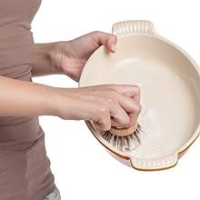 pot pan casserole dish stuck on grime food kitchen multi-purpose dish scrubbing brush all natural