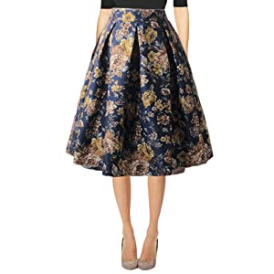 a8476ee39a Hanlolo Women's Floral Midi Skirts High Waisted A-Line Cocktail ...