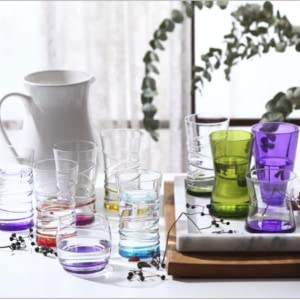 Color Fun Tumblers Long Drink Glasses Crystal Clear