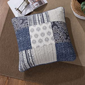 Full Denim Blue Elegance 100/% Cotton Quilted DaDa Bedding Patchwork Bedspread Set 3-Pieces JHW-660-F Bright Vibrant Multi Colorful Navy Floral