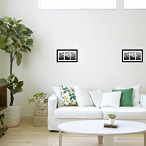 8x14 Black Gallery Picture Frame in Living Room with 3 4x6 Opening Mat included
