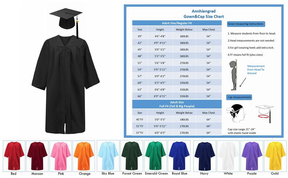 90012615735 Amazon.com  Annhiengrad Unisex Adult Matte Graduation Gown Cap with ...