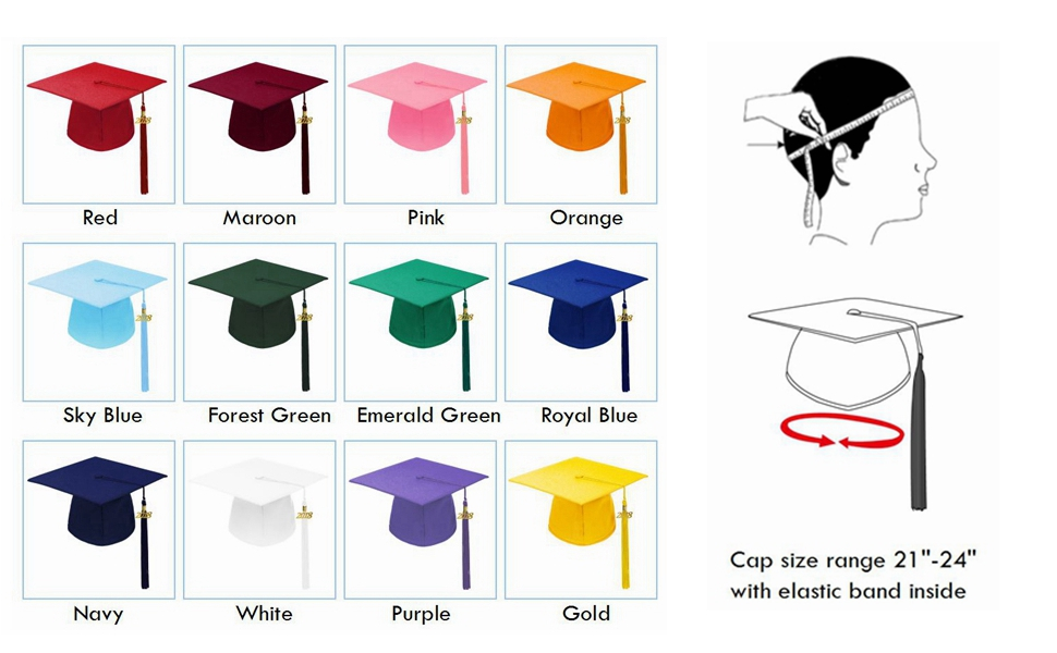 9daaa4abe42 Amazon.com  Annhiengrad Unisex Adult Matte Graduation Cap with ...