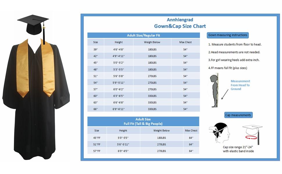 19cbb48833b Annhiengrad Unisex Premium Black Matte Graduation Cap Gown and Stole Package