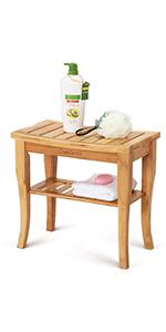 bamboo shower chair teak shower seat shelf organize