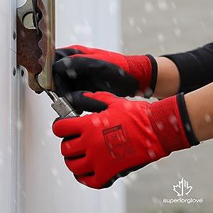 Red Winter Work Gloves by Superior Glove
