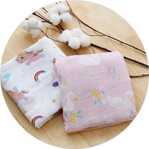 Cotton Muslin Swaddle Blankets for Girls 2 Pack, Unicorn /& Swan Large Muslin Squares Baby Shower Gifts LifeTree Bamboo Soft Muslin Cloths -