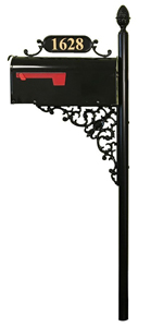 Addresses Of Distinction Charleston Large Mailbox Post System Black Rust Resistant Mailbox Includes Address Plaque Scroll Mounting Hardware Metal Mailbox With Pineapple Finial Home Improvement