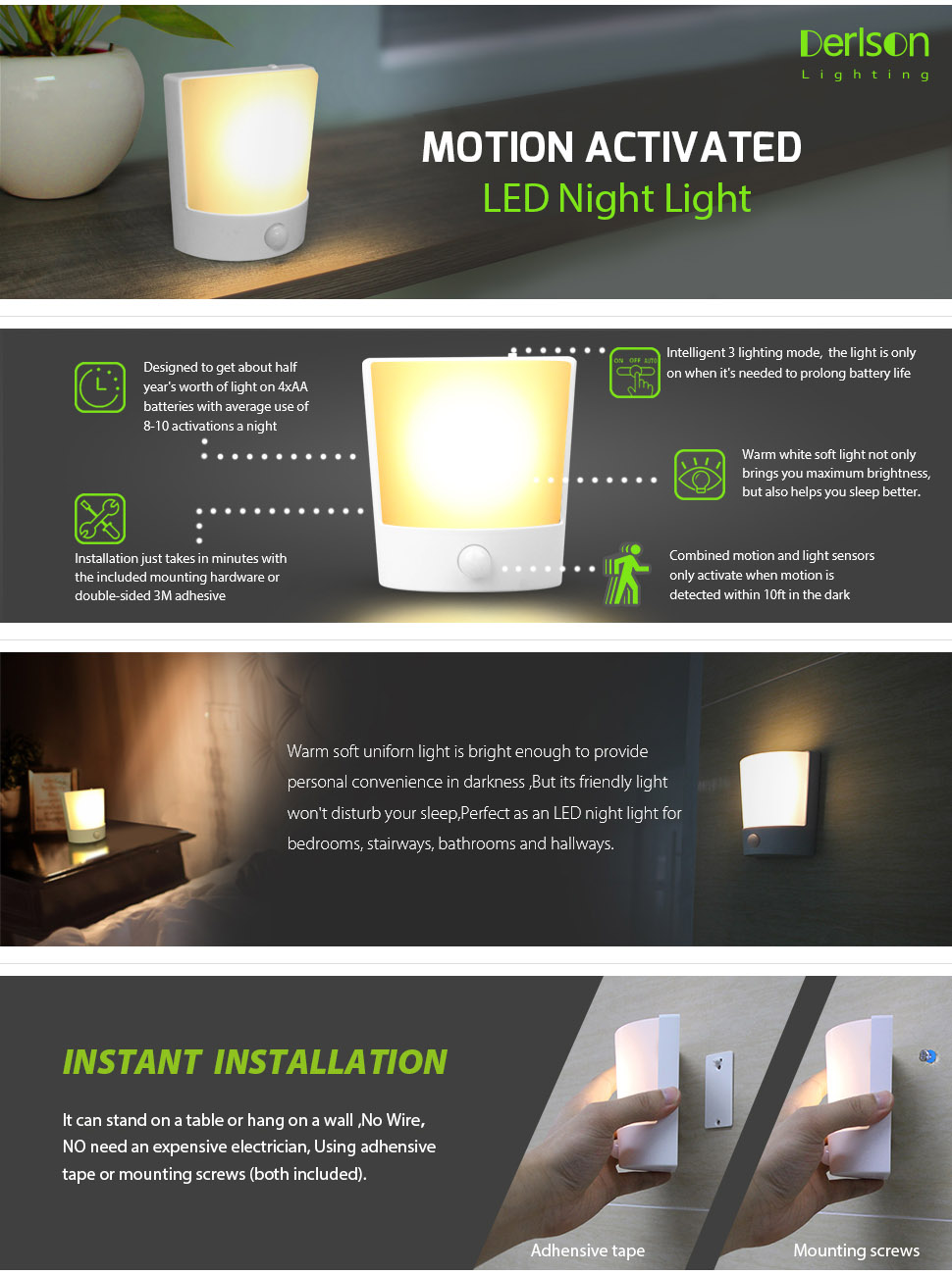 This Motion Sensor Sconce gives you a solution for corridor and pathway lighting where wiring is difficult.